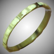 Vintage Carved Horn Chunky Bangle Bracelet
