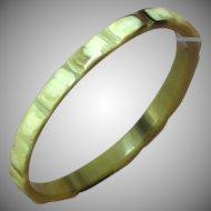 Vintage Carved Horn Chunky Bangle Bracelet