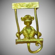 Articulated Monkey in a Swing Goldtone Figural Pin Brooch