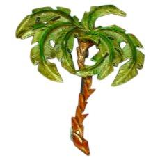 Enamel 3-D Palm Tree 1940s Pin Brooch