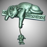 J.J. Pewter Cat Mouse Figural Pin Brooch