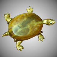 Natural Picture Agate Turtle Brushed Gold-tone Figural Pin Brooch