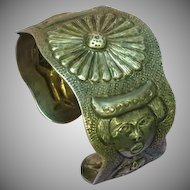 Mexican Mexico Sterling Silver Hand Crafted Mayan Motif Cuff Bracelet
