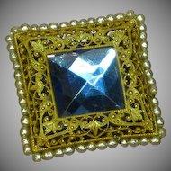 Miriam Haskell Pin Brooch Square Blue Rhinestone Faux Pearls Gilt Filigree