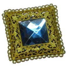 Miriam Haskell Signed  Square Blue Rhinestone Faux Pearls Gilt Filigree Pin Brooch