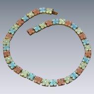 Czech Art Deco  Molded  Glass Pastel Flowers Rhinestones Necklace