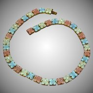 Czech Art Deco  Molded  Glass Pastel Flowers Rhinestones Necklace
