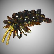 Juliana DeLizza & Elster Dangle Beads Tiger Stripe Rhinestones Art Glass Pin Brooch