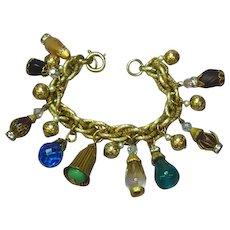 Napier Signed Designer Large Art Glass Dangle Charm Bracelet