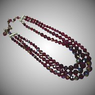 Luscious Laguna Red Austrian A/B Flashed Crystal 3 Strand Necklace