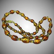 "Bohemian Golden Art Glass Foil Glass Beads Citrine Smoky Quartz 19"" Necklace"