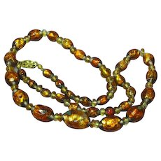 Venetian Murano Golden Art Glass Foil Glass Beads Citrine Smoky Quartz  Necklace