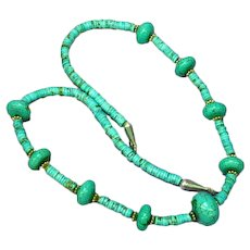 Native American Indian Natural Hand Rolled Sterling Turquoise Nugget Heishe Necklace