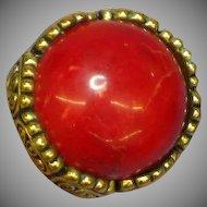 Bakelite Red Marbled Goldtone Large Domed Size 7 Ring