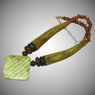 """Carved Horn Red and Brown Brass African Trade Beads 20"""" Necklace"""
