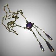 Art Deco  Faceted Amethyst Glass Teardrop Dangle Pendant Necklace