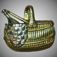 Liz Claiborne Detailed Goldtone and Silvertone Picnic Basket Pin Brooch