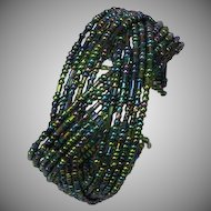 Beads Peacock Color Seed Bead Wire Cuff Bracelet