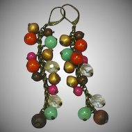Dramatic Antiqued Brass Beads  Cha Cha Dangle Pierced Earrings