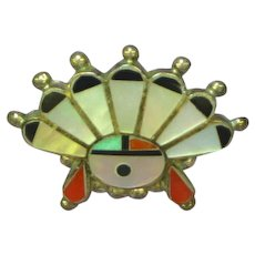 Native American Inlay Sterling Silver Sun Face Turquoise Lapel Pin Tie Tac
