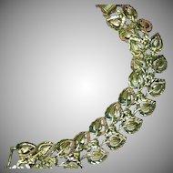 Coro Pegasus Magical Bright Heavy Silver-tone Flexible Link Floral Bracelet