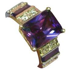 Sterling Silver Rhodium Plate  Amethyst Swarovski Crystal Filigree Ring