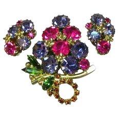Weiss Brilliant Rhinestones Floral Delight Pin Brooch Clip Earrings Demi Parure
