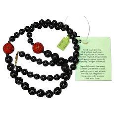 Striking Onyx, Cinnabar Bead Asian Hawaiian Necklace