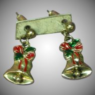 Christmas Bells Bows Charming Silver Plate Post Earrings