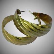Wide Gold Tone Textured Large Hoop Pierced Earrings