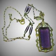 Art Deco Brass Czech Filigree Amethyst Glass Bead Necklace