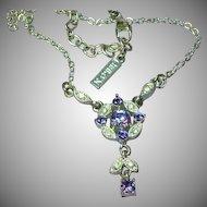 Napier Elegant Signed Designer Purple Rhinestone  Rhodium Plate Necklace
