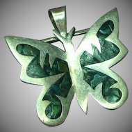 Taxco Mexico Sterling Silver with Abalone Inlay Butterfly Pin Brooch Pendant