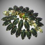 Watermelon Rivoli Rhinestone Black Satin Glass Domed Brooch Pin