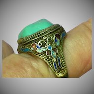 Superb Quality Antique Chinese Turquoise Cabochon  900 Silver & Enamel Ring