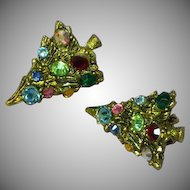 Hollycraft Christmas Tree Sparkly Rhinestones Gold Tone Clip Earrings