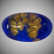 Murano Glass, Italy Hand Poured Blue and Gold Fluss Ring