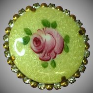 Guilloche Enamel Hand Painted Rose Rhinestones Pin Brooch