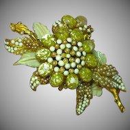 Barrera Signed Dimensional Milk Glass Yellow Art Glass Rhinestones Seed Pearl Enamel Flower Pin Brooch