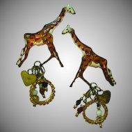Lunch At The Ritz LATR Enamel Giraffe Pierced Dangle EARRINGS on Card Vtg 90's