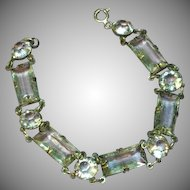 Art Deco Sterling Silver Faceted Quartz Rock Crystal Open Back Bracelet