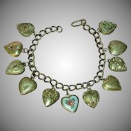 Puffy Heart Victorian and 1940s Sterling Silver Puffy 11 Hearts Charm Bracelet