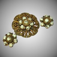 Copper & Art Glass Huge Pin Brooch Clip Earrings Set Demi Parure