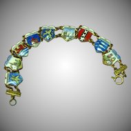Enamel European Country Shields Travel Charm Bracelet