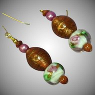 Murano Glass Bead Dangle Drop Pierced Earrings