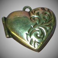 Vintage Antique Victorian Sterling Etched Puffy Heart Charm Locket