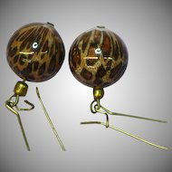 Animal Print Long Dangle Bead Pierced Earrings