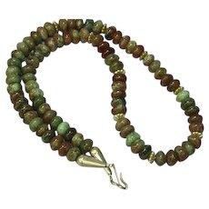 Multi-Colored Tourmaline Gemstone Rondelle Bead Necklace