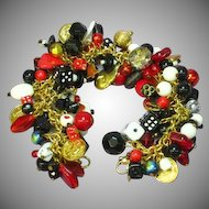 Gamblers Dream Loaded Black Red White Charm Bracelet