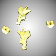 Disney Tinker Bell Sterling Silver Pierced Post Earrings